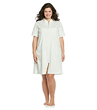 Miss Elaine® Plus Size Short Knit Zip Robe - Mint