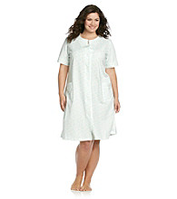Miss Elaine® Plus Size Short Knit Snap Robe - Blue Floral
