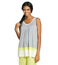 DKNY® Knit Color Border Tank - Heather Grey