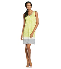 DKNY® Knit Color Border Chemise - Lime Dot