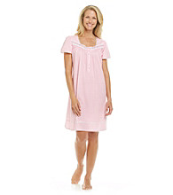 Aria® Knit Short Sleeve Gown - Pink Check
