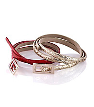 Nine West® Glitter Skinny Belts - Red and Gold