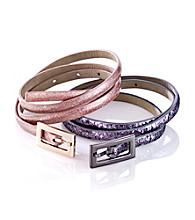 Nine West® Glitter Skinny Belts - Pewter Pink
