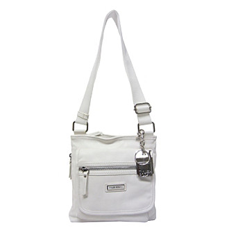 A leather handbag featuring a top zip entry.
