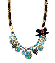Betsey Johnson® Blue Crystal Fireball Multi Charm Frontal Necklace