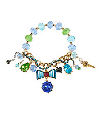 Betsey Johnson® Blue Crystal Bow Multi Charm Half Stretch Bracelet