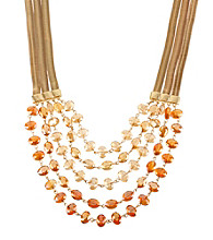 Kenneth Cole® Orange Faceted Bead Multi Row Necklace