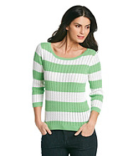 Jeanne Pierre® Striped Cable Sweater