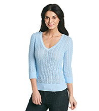 Jeanne Pierre® Cable V-Neck Sweater