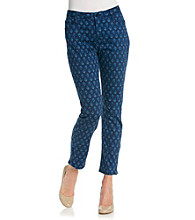 Jones New York Signature® Printed Slim Ankle Zip Pant