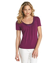 Laura Ashley® Sequin Neckline Tee