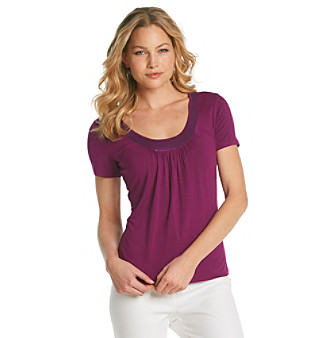 Laura Ashley® Petite's Sequin Neckline Tee