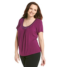 Laura Ashley Plus Size Sequin Neckline Tee