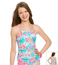 Mambo® Juniors' Swim Printed Side Rouched Bandini Top
