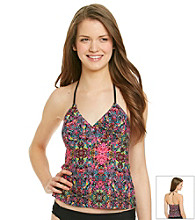 Mambo® Juniors' Swim Printed Halter Tankini Top