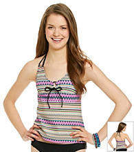 Mambo® Juniors' Swim Printed Double Strap Tankini Top
