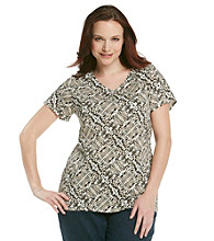Relativity® Plus Size Printed Crewneck Tee