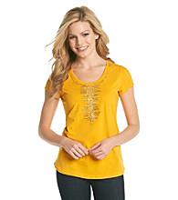 Relativity® Petite's Center Embellished Scoopneck Tee