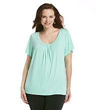 Relativity® Career Plus Size Pleatneck Solid Tee