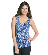 Relativity® Career Pleatneck Printed Tank Top
