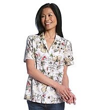Cathy Daniels® Button-Front Printed Camp Shirt
