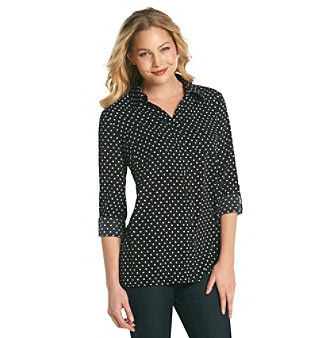 Notations® Rolled Sleeve Dot Printed Shirt