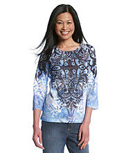 Breckenridge® Blue Print Studded Sublimation Tee