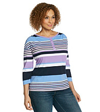 Studio Works Plus Size Striped Snap Henley Tee