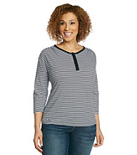 Studio Works Plus Size Thin Stripe Snap Henley Tee