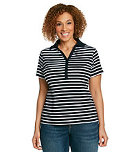 Studio Works Plus Size Short Sleeve Striped Polo