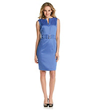 Tahari by Arthur S. Levine® Textured Slit Neck Belted Sheath