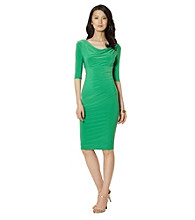 Lauren Ralph Lauren Elbow-Sleeved Matte Jersey Cowlneck Dress