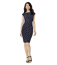 Lauren Ralph Lauren Cap-Sleeved Patterned Matte Jersey Dress