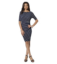 Lauren Ralph Lauren Batwing Sleeved Matte Jersey Striped Dress