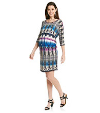 Three Seasons Maternity 3/4 Dolman Sleeve Printed Dress