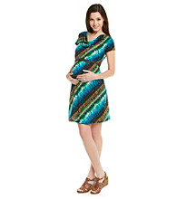 Three Seasons Maternity™ Drapeneck Belted Print Dress
