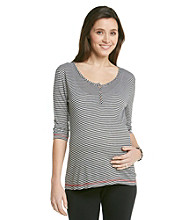 Three Seasons Maternity® Striped Henley Top