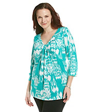 Jones New York Sport® Plus Size V-Neck With Knot Top