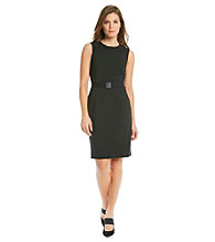 Calvin Klein Petite's Solid Sleeveless Belted Dress