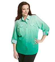 Notations® Plus Size Ombre Buttondown Shirt