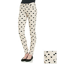 Fire® Juniors' Heart Print Skinny Jeans