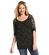Eyeshadow® Juniors' Plus Size White Dot Lace Top