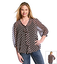 Eyeshadow® Juniors' Plus Size Polka Dot Tie Front Shirt