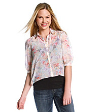 Eyeshadow® Juniors' Plus Size Equipment Shirt With Studded Collar