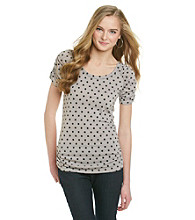 Eyeshadow® Juniors' Polka Dot Ruched Tee