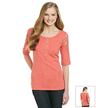 Eyeshadow® Juniors' Crochet Seamed Henley