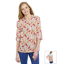Belle du Jour Juniors' Floral Lace-Back Shirt