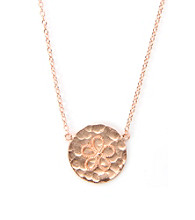 Cellini Rose Gold Over Sterling Hammered Disc Flower Pendant