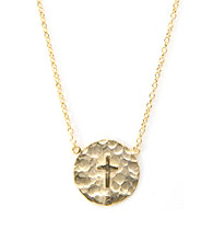 Cellini Hammered Disc Cross Pendant