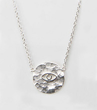 Cellini Sterling Silver Hammered Disc Guardian Eye Pendant